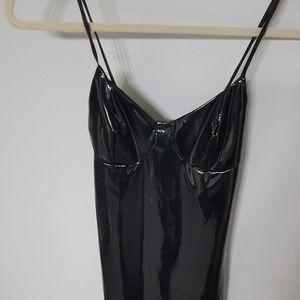 Latex bodycon midi dress